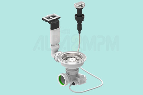 "3-1/2"" automatic waste bowl with horizontal rectangular overflow oval section with articulated joint"