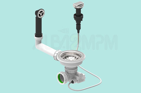 "3-1/2"" automatic waste bowl with round overflow circular section with articulated joint"