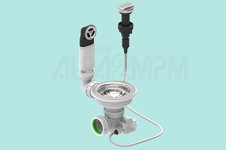 "3-1/2"" automatic waste bowl with round overflow oval section with articulated joint"